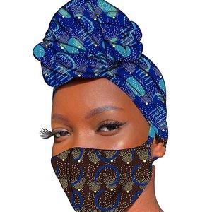 Ankara Head Wrap and FaceMask Mask Set